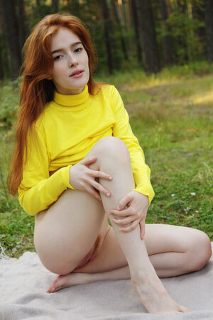 Ginger with red hair on the head and pubis undresses at the picnic