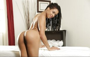 Chocolate 18-19 y.o. takes off her clothes and furthermore waits for masseur quite naked