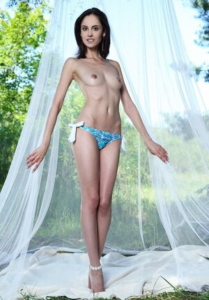 Bitch with no jugs satisfied with posing nude under the canopy outdoors