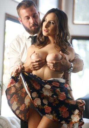 Bearded man returns home in time for sensual sex on sofa with busty wife