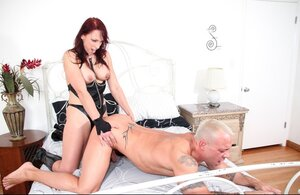 Hairless lad fucks redhead slut and gives bj her sizeable black strapon before she bangs him