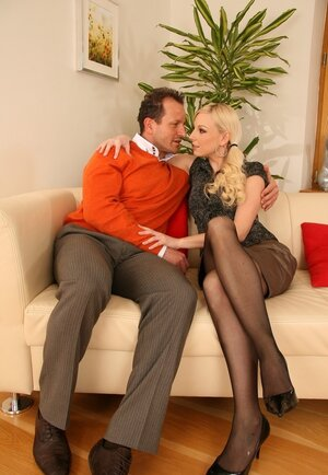 Blonde and moreover her husband moreover with ease drag sitter into group anal sex on sofa