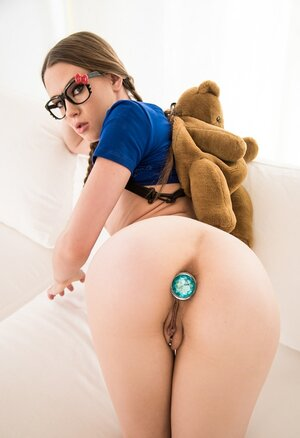 Nerdy cheerleader Alexa Nova surprises with a sex dildo plugged into asshole