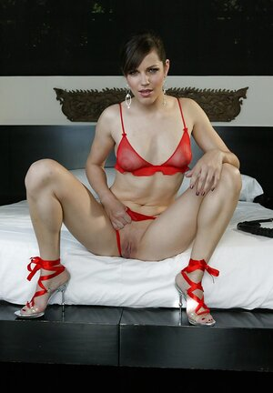 Girl appears in hot red lingerie and additionally high heels and additionally finally slides panties aside