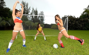 Football game makes three comely female friend desirous to have lesby encounter
