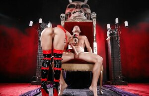 Queen of underworld pleases glabrous slave with stunning cock sucking