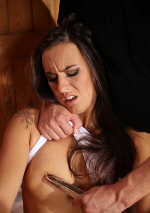 Small-tittied kitten with taped hands can't do anything when fella toys her tush