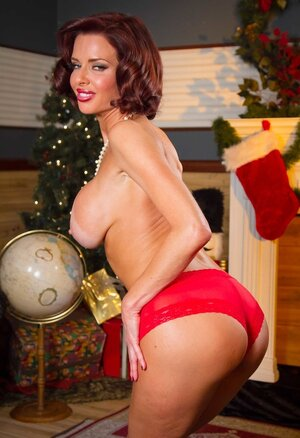 Staggering Eager mom with red hair and besides tan lines waits for good fuck tool for Christmas