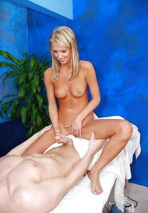 Immature blonde masseuse makes money with her pussy in the massage room